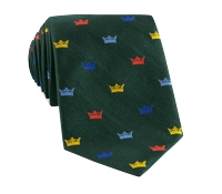 Silk Woven Crown Motif Tie in Forest