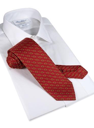 Silk Horse Motif Tie in Ruby