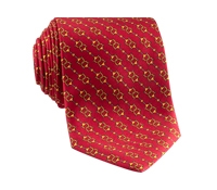 Silk Horse Motif Tie in Ruby