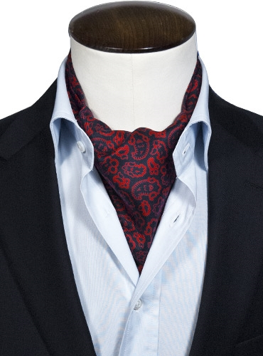 Silk Print Paisley Ascot in Red and Navy