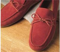 The Geox Moccasin Style Driver in Red Suede
