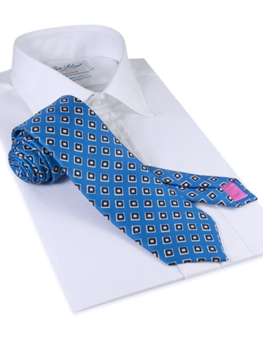Silk Print Diamond Motif Tie in Cobalt