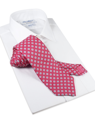 Silk and Linen Square Motif Printed Tie in Magenta