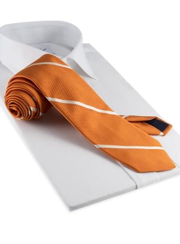 Silk Woven Bar Stripe Tie in Tangerine