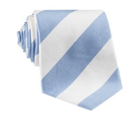 Ice Blue and White Block Stripe Tie