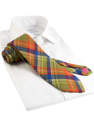Cotton Plaid Tie in Muscat