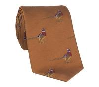 Silk Woven Pheasant Motif Tie in Cinnamon
