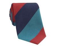 Silk Woven Multi Stripe Tie in Henna, Honeybird, Indigo