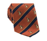 Silk Woven Duck Motif Tie in Orange
