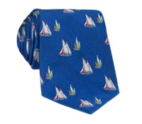 Silk Woven Sailboat Motif Tie in Marine