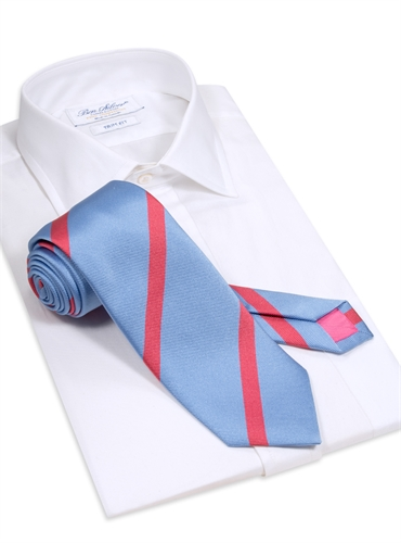 Silk Bar Striped Tie in Sea Blue with Azalea