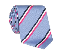 Silk Triple Stripe Tie in Sky