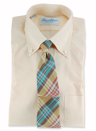 Plaid Linen Tie in Taupe