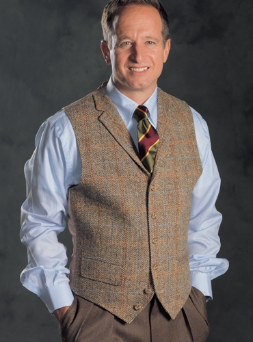 Brown and Tan Chevron Harris Tweed Waistcoat
