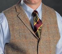 Brown and Tan Chevron Harris Tweed Waistcoat