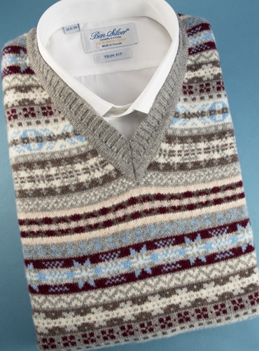 Fair Isle Sweater Vest in Flannel