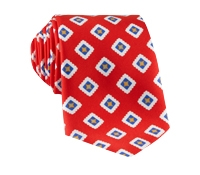 Silk Printed Tile Motif Tie in Red