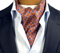 Silk  Neat Print Ascot in Orange