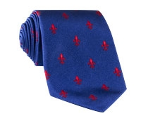Silk Woven Fleur de Lis Tie in French Blue and Red