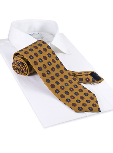 Silk Printed Medallion Motif Tie in Mustard