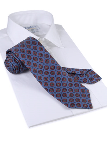 Silk and Linen Neat Print Tie in Denim