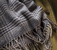 Navy and Stone Glen Plaid Lambswool Scarf