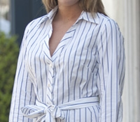 White with Navy rope stripe Shirt Dress