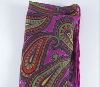 Printed Silk Pocket Square Fuchsia Paisley