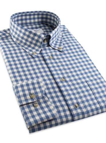 Brushed Cotton Delft and Cream Gingham