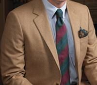 Beige Herringbone Cashmere Sport Coat