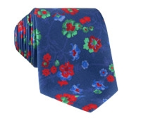 Silk Floral Print Tie in Navy