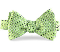 Silk Print Small Flower Bow in Lime with Navy