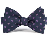 Silk Print Bow with an Octagon Motif in Navy