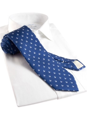 Silk Print Anchor Motif Tie in Navy