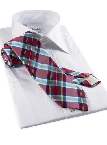 Silk Woven Plaid Tie in Fire