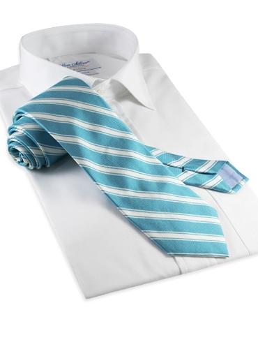 Silk Woven Double Stripe Tie in Jade