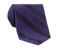 Silk Triple Stripe Tie in Violet