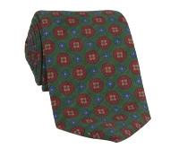 Wool Printed Medallion Motif Tie in Tartan
