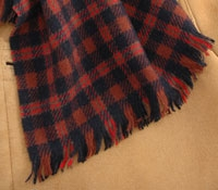 Cashmere Scarf Plaid Navy/Red/Tan