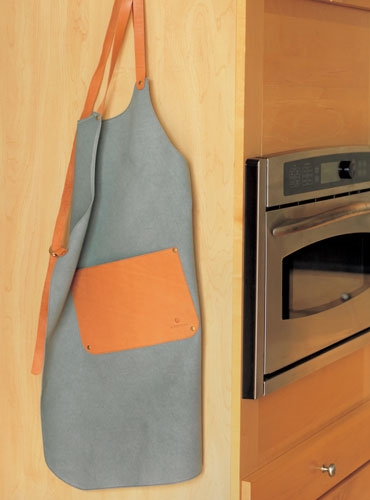 Cotton Canvas Apron with Leather Detailing