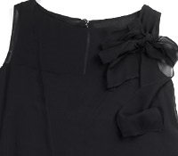 Ladies Bow Chiffon Black Dress