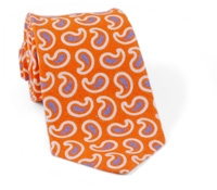 Linen and Silk Paisley Tie Orange