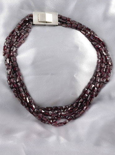 6 Strands Red Garnet Necklace