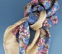 Ladies Silk Print Grape Scarf