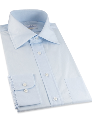 Blue Broadcloth Spread Collar Shirt