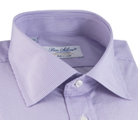 Lilac & White Pinstripe Spread Collar