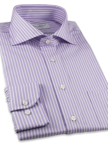 Purple Pencil Stripe Twill Cutaway