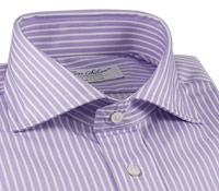 Purple Pencil Stripe Twill Cutaway