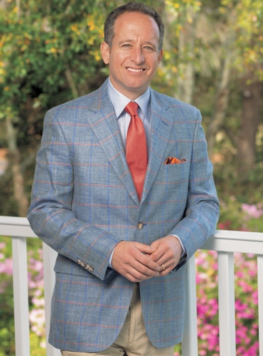 Mid-Blue Sport Coat with Double Windowpane of Regal Blue and Soft Salmon