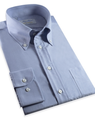 140s Oxford Button Down in Solid Blue